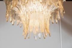 Modernist Three Tier Palma Chandelier in Murano Glass and Brass Fittings - 1560417