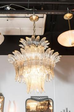 Modernist Three Tier Palma Chandelier in Murano Glass and Brass Fittings - 1560419
