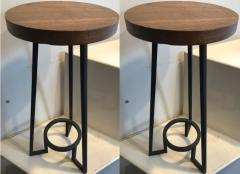 Modernist bauhaus french brutal steel pair of side tables - 1025913