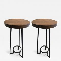 Modernist bauhaus french brutal steel pair of side tables - 1026019
