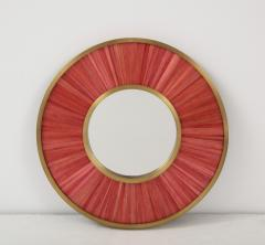 Modernist mirror Executed in straw marquetry and solid brass frame  - 1656580