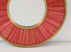Modernist mirror Executed in straw marquetry and solid brass frame  - 1656581