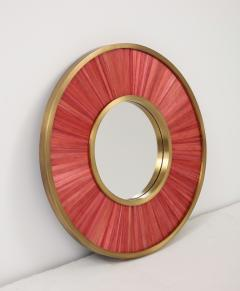 Modernist mirror Executed in straw marquetry and solid brass frame  - 1656582