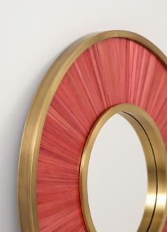 Modernist mirror Executed in straw marquetry and solid brass frame  - 1656583