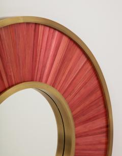 Modernist mirror Executed in straw marquetry and solid brass frame  - 1656584
