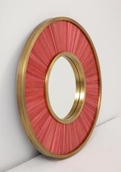 Modernist mirror Executed in straw marquetry and solid brass frame  - 1656585