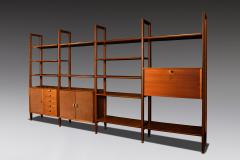 Modular Bookcase In Wood Suede And Brass Italy Late 1950s - 1972356