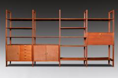 Modular Bookcase In Wood Suede And Brass Italy Late 1950s - 1972357