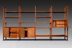 Modular Bookcase In Wood Suede And Brass Italy Late 1950s - 1972358