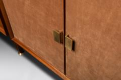 Modular Bookcase In Wood Suede And Brass Italy Late 1950s - 1972360