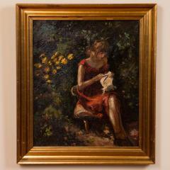 Mogens Christian Vantore Vintage Oil Painting the Artists Wife in the Garden by Mogens Vantore - 1067638