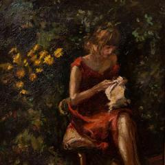 Mogens Christian Vantore Vintage Oil Painting the Artists Wife in the Garden by Mogens Vantore - 1067643