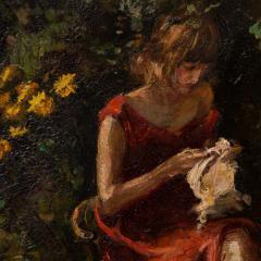 Mogens Christian Vantore Vintage Oil Painting the Artists Wife in the Garden by Mogens Vantore - 1067644