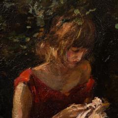 Mogens Christian Vantore Vintage Oil Painting the Artists Wife in the Garden by Mogens Vantore - 1067645