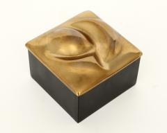 Monique Gerber MONIQUE GERBER FRENCH BRONZE LIDDED SCULPTURAL TOP AND BLACK AND RED LACQUER BOX - 1930121
