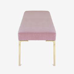 Montage Astor 60 Brass Bench in Blush Mohair by Montage - 825617