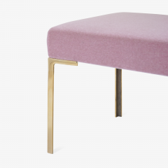 Montage Astor 60 Brass Bench in Blush Mohair by Montage - 825618