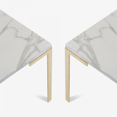 Montage Astor Brass Occasional Tables in Carrara Marble by Montage Pair - 370306