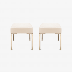 Montage Astor Brass Ottomans in Bone Luxe Suede by Montage Pair - 370311