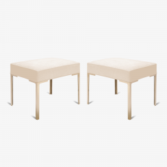 Montage Astor Brass Ottomans in Bone Luxe Suede by Montage Pair - 370313