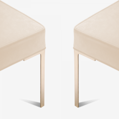 Montage Astor Brass Ottomans in Bone Luxe Suede by Montage Pair - 370314