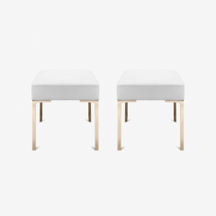 Montage Astor Brass Ottomans in Dove Luxe Suede by Montage Pair - 370317