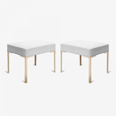 Montage Astor Brass Ottomans in Dove Luxe Suede by Montage Pair - 370318
