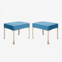 Montage Astor Brass Ottomans in Lagoon Luxe Suede by Montage Pair - 370367