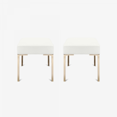 Montage Astor Brass Ottomans in Snow Luxe Suede by Montage Pair - 370375