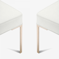 Montage Astor Brass Ottomans in Snow Luxe Suede by Montage Pair - 370377