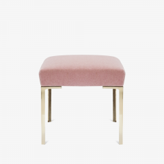 Montage Astor Petite Brass Ottoman in Blush Mohair by Montage - 827079