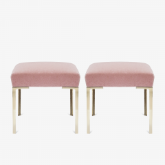 Montage Astor Petite Brass Ottomans in Blush Mohair by Montage Pair - 825728
