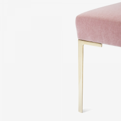 Montage Astor Petite Brass Ottomans in Blush Mohair by Montage Pair - 825731