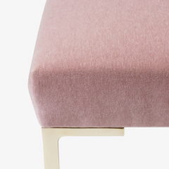 Montage Astor Petite Brass Ottomans in Blush Mohair by Montage Pair - 825732