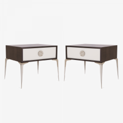 Montage Colette Nickel Nightstands in Ebony Ivory by Montage Pair - 315751