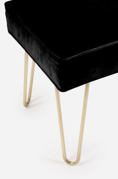Montage Petite Brass Hairpin Ottomans in Noir Velvet - 240019