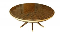 Monumental Art Deco Style Zebrawood and Lemonwood Extension Dining Table - 1130511