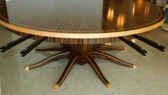 Monumental Art Deco Style Zebrawood and Lemonwood Extension Dining Table - 1130513