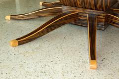 Monumental Art Deco Style Zebrawood and Lemonwood Extension Dining Table - 1130514