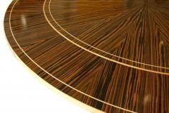 Monumental Art Deco Style Zebrawood and Lemonwood Extension Dining Table - 1130519