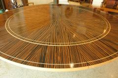 Monumental Art Deco Style Zebrawood and Lemonwood Extension Dining Table - 1130521
