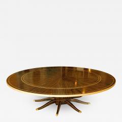 Monumental Art Deco Style Zebrawood and Lemonwood Extension Dining Table - 1152788