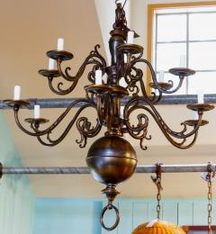 Monumental Bronze Two Tier Chandelier with Twelve Arms - 1776438