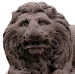 Monumental Carved Stone Lions from the Decker Mansion in Montgomery PA - 126133