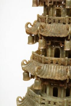 Monumental Chinese Green Translucent Jade Carved Pagoda Censer 19th Century - 936505
