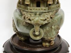 Monumental Chinese Green Translucent Jade Carved Pagoda Censer 19th Century - 936508
