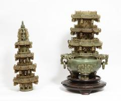 Monumental Chinese Green Translucent Jade Carved Pagoda Censer 19th Century - 936509