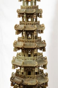 Monumental Chinese Green Translucent Jade Carved Pagoda Censer 19th Century - 936512