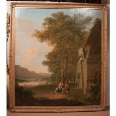 Monumental Framed Oil on Canvas Pastural Landscape - 1532634