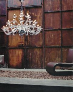 Monumental Italian Triple Tier 30 Arm Clear Murano Venetian Glass Chandelier - 1844225